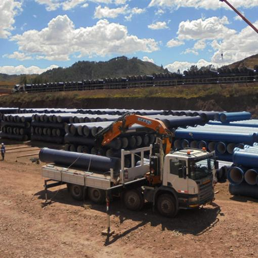 ductile iron pipe works site